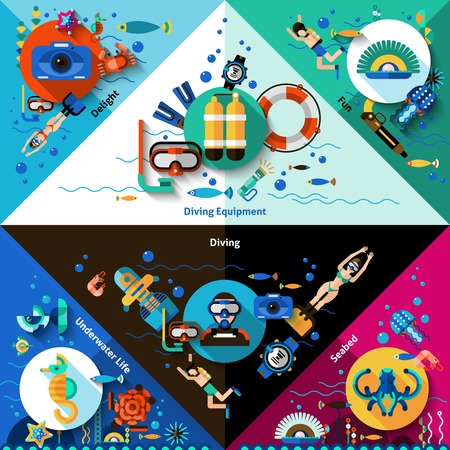 lifejacket: Diving corners set with underwater sport equipment isolated vector illustration