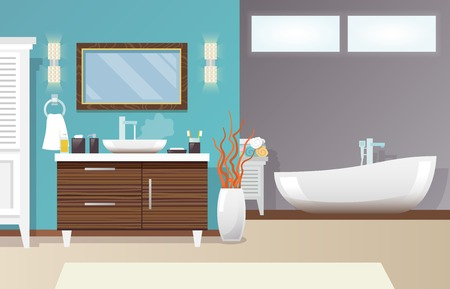 the accessory: Modern bathroom interior with furniture and hygiene accessories flat vector illustration