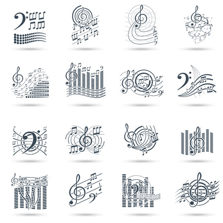clefs: Abstract music notes black icons set with treble clefs audio waves symbols and swirls isolated vector illustration