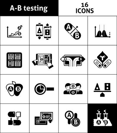 best ad: A-b two choice testing icons black set isolated vector illustration Illustration