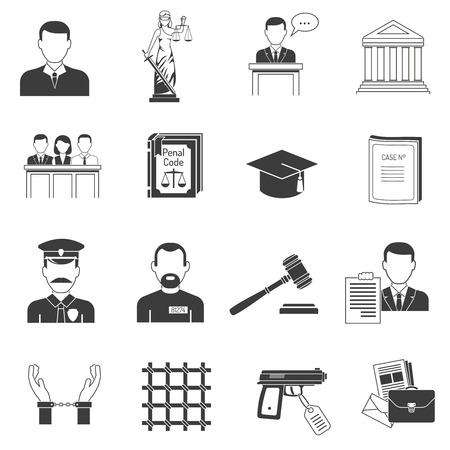 convict: Legal justice verbal process black icons set with jury penal and handcuffed convict abstract isolated vector illustration