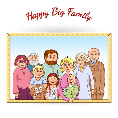 Générations d'arbres de famille heureuse encadrées affiche de portrait avec animaux grands-parents des enfants de bébé et jouets abstraite illustration vectorielle Banque d'images - 41891103