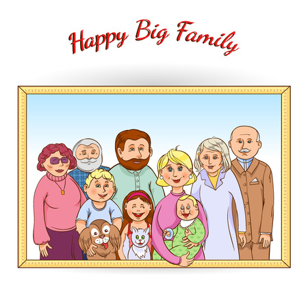 generations: Happy family tree generations framed portrait poster with grandparents children baby pets and toys abstract vector illustration Illustration