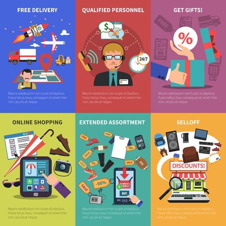 assortment: Online store free delivery gifts shopping mini posters set isolated vector illustration