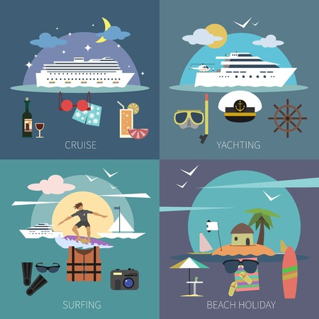 fishery: Ship design concept set with cruise yachting surfing beach holiday flat icons isolated vector illustration Illustration