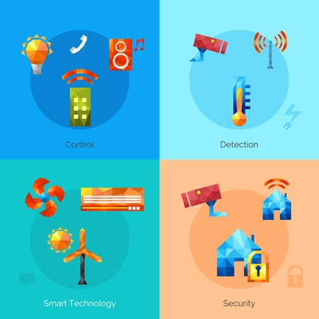 Smart house design concept set with control detection security technology polygonal icons isolated vector illustration