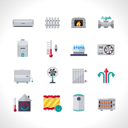 warm house: Heating icons set with household electric and air conditioning system symbols isolated vector illustration Illustration