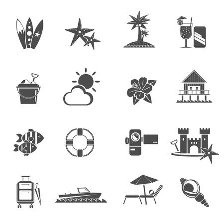 d�tente: Plage Icons Set noir avec s�jours � la mer et les symboles de relaxation isol� illustration vectorielle Illustration
