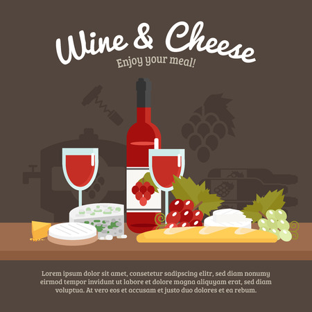 tagline: Wine and cheese still life with enjoy your meal tagline flat vector illustration