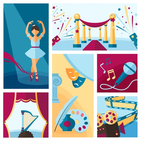theatre: Arts and culture decorative banners flat set isolated vector illustration
