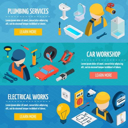 switcher: Plumber mechanic and electric worksop and professional tools isometric horizontal banner set isolated vector illustration