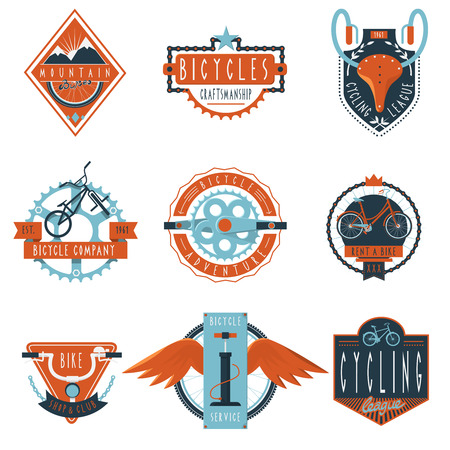Bicycle hire company and  bike rental repair service for cycling clubs labels set abstract isolated vector illustration