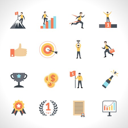 success man: Success in business and education flat icons set isolated vector illustration