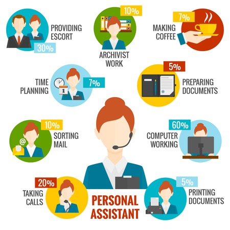 woman boss: Personal assistant infographics set with boss work planning symbols vector illustration