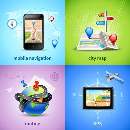 navegacion: Concepto de diseño de navegación establece con gps mapa de la ciudad de enrutamiento iconos aislados ilustración vectorial