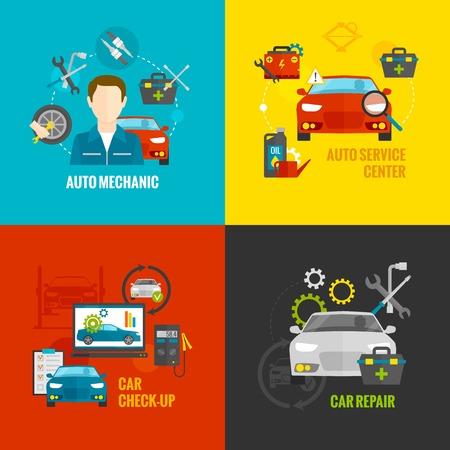 Auto concept mécanicien fixer avec des icônes plates de services de réparation de voiture isolé illustration vectorielle