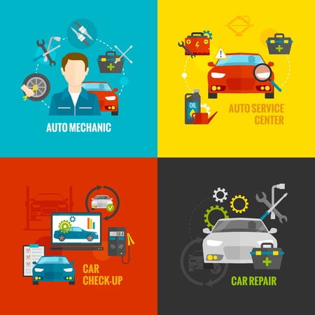 mecanico: Auto concepto de dise�o mec�nico conjunto con iconos planos de servicios de reparaci�n de autom�viles aislados ilustraci�n vectorial