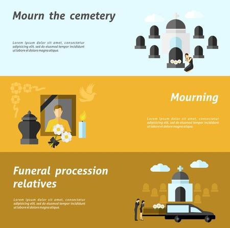 memorial cross: Banner horizontal Funeral conjunto con elementos de cementerio y de luto planos aislados ilustración vectorial