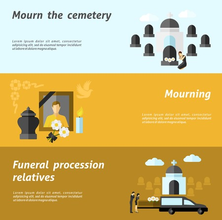 memorial candle: Funeral horizontal banner set with flat cemetery and mourning elements isolated vector illustration