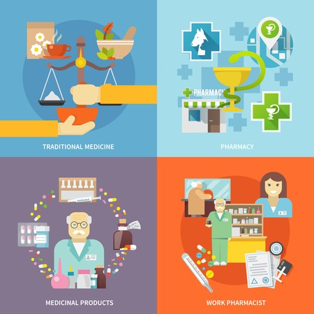 pharmacist: Pharmacist design concept set with traditional medicine and medicinal products flat icons isolated vector illustration