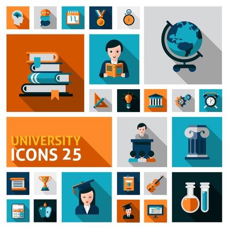 higher education: University and studying flat decorative icons set isolated vector illustration