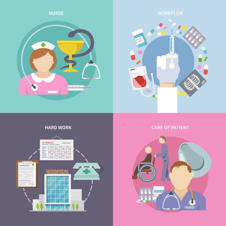 enfermera con paciente: Flujo de trabajo de la enfermera concepto de diseño conjunto con el cuidado de los pacientes iconos planos aislados ilustración vectorial