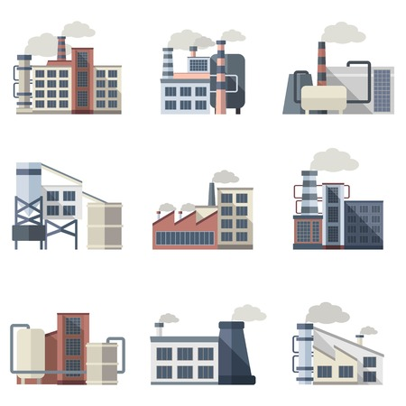 ingenieria industrial: Plantas industriales y fábricas de construcción iconos planos conjunto aislado ilustración vectorial