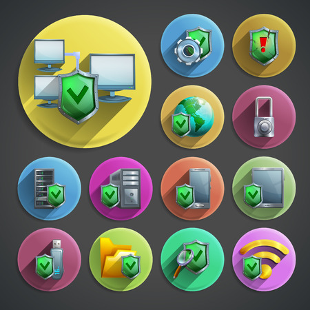 computer data: Data protection and computer security cartoon round icons set with shield and networks on black background  shadow isolated vector illustration