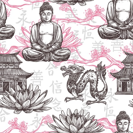 chinese buddha: Asian seamless pattern with sketch pagoda building lotus flower dragon vector illustration Illustration