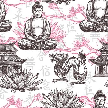 Asian seamless pattern with sketch pagoda building lotus flower dragon vector illustration Stock Illustratie
