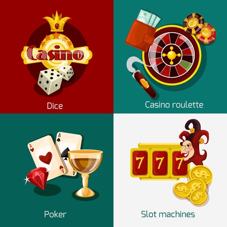 roulette online: Casino design concept set with dice roulette poker slot machine icons isolated vector illustration