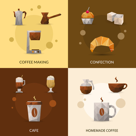 glasse: Coffee making and confectionery polygonal icon set isolated vector illustration