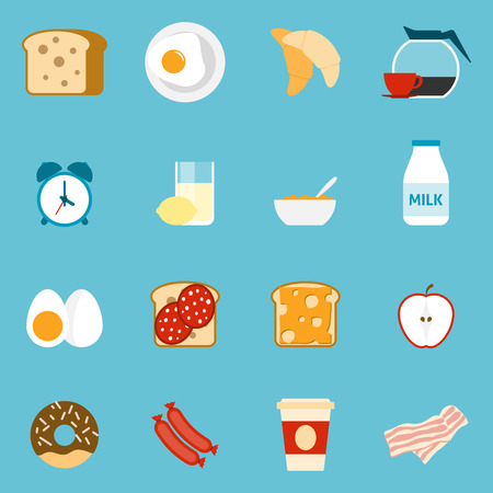 fried: Breakfast icons set with sandwiches milk and coffee on blue background flat isolated vector illustration Illustration