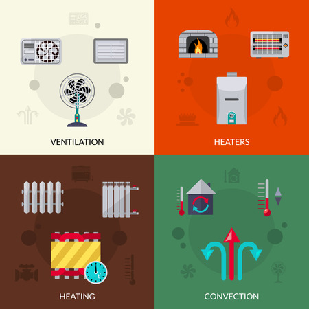 convection: Heating ventilation and convection flat icons set isolated vector illustration