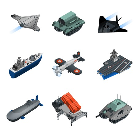 military aircraft: Military equipment isometric icons set with submarine fighter aircraft tank isolated vector illustration