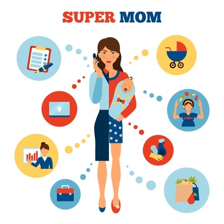 balance life: Businesswoman mother concept with flat woman divided in business and parent parts vector illustration