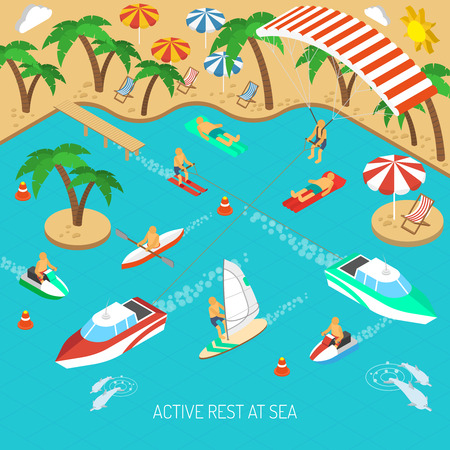 Active rest at sea and beach vacation with umbrellas and chaise lounges isometric concept vector illustration