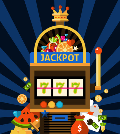 Slot machine concept with jackpot crown and money on dark blue background with rays flat vector illustration
