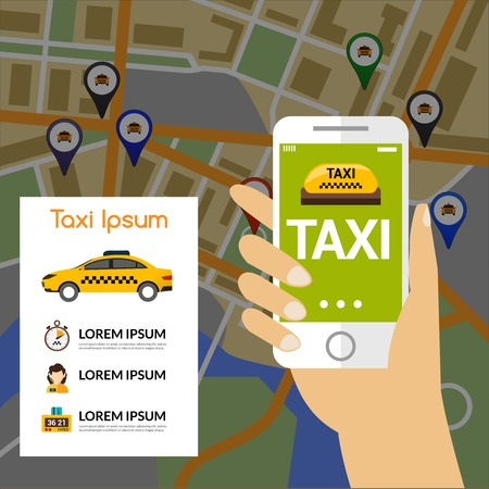 phone hand: Taxi navigation concept with human hand holding mobile phone and map on background vector illustration Illustration