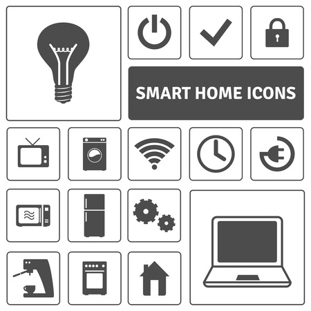 electronic device: Smart home decorative icons set with automation electronics control symbols  isolated vector illustration