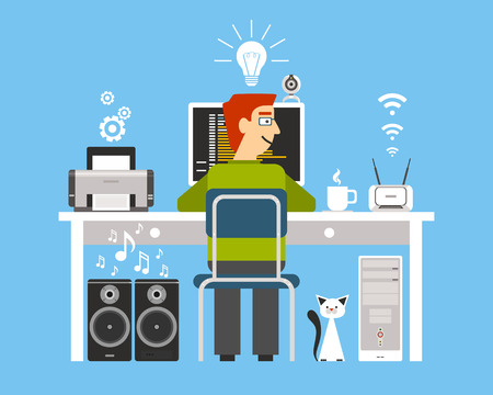 programer: Programmer on workplace with computer devices with process symbols and decor flat color concept vector illustration