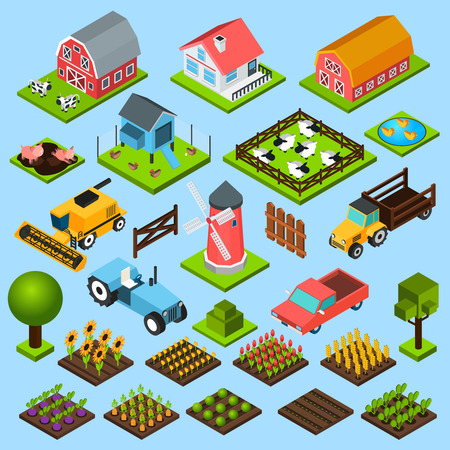 grasslands: Farm toy blocks modeling mill harvesting combine and chicken house isometric icons set isolated abstract vector illustration