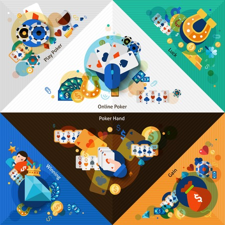 roulette online: Poker corners set with fortune game and gambling elements isolated vector illustration Illustration