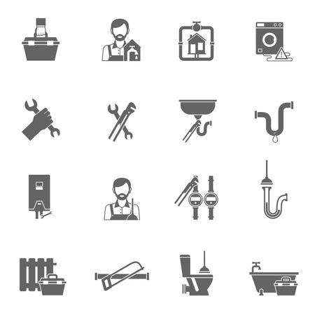 Hydraulik i podaży złota rączka rurociągu ikony pojedyncze czarne zestaw ilustracji wektorowych