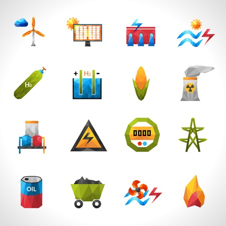 green power: Power plant green energy polygonal icons set isolated vector illustration Illustration