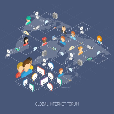 bubble talk: Internet forum concept with isometric people avatars speech bubbles and world map vector illustration