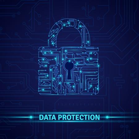 파란색 배경 벡터 일러스트 레이 션에 자물쇠 모양의 회로와 데이터 보호의 개념 일러스트