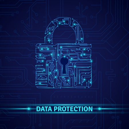 Data protection concept with circuit in lock shape on blue background vector illustration