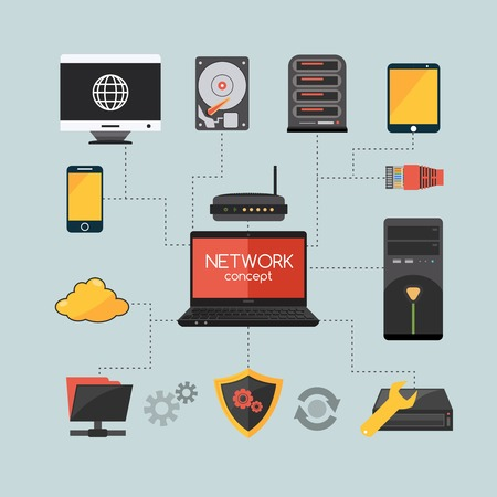 computer network concept: Computer network concept with hardware and system protection flat icons vector illustration