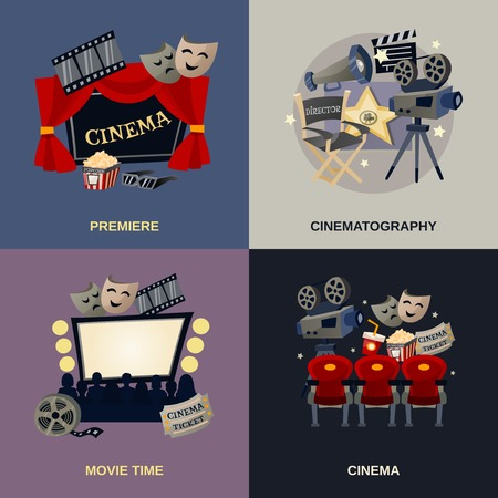 film director: Cinema design concept set with cinematography movie premiere flat icons isolated vector illustration